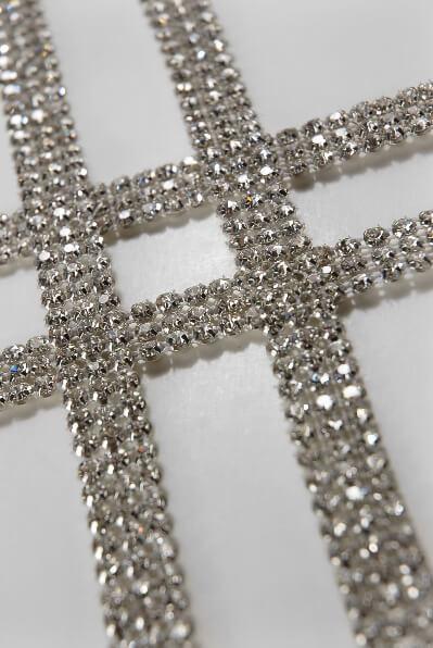 Diamond Ribbon Trim with Glass Stones 1/2in x 3 yards