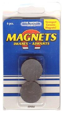 "Master Magnetics 1"" x 5/32"" Ceramic Disc Magnet (6 magnets)"