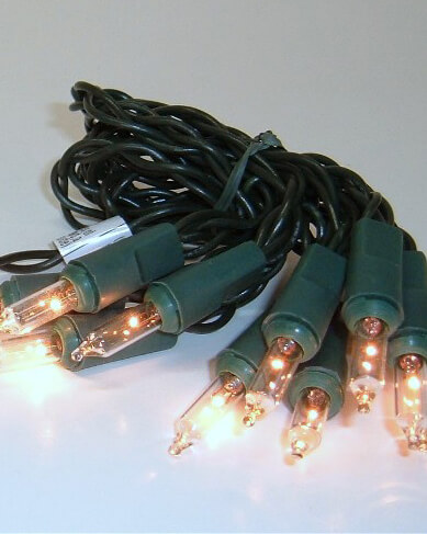 LED Lights Clear Battery Operated Green Wire