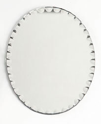 "Six - 10"" Oval Scalloped Glass Centerpiece Table Mirrors, Felted Feet"