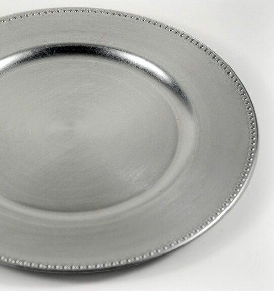 6 Charger Plates Silver w/ Beaded Edge 13in & Chargers \u0026 Serveware