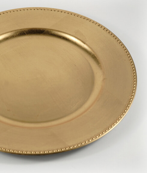 """This Placesetting Is To Die Gold Charger Champagne: 6 Gold Leaf Charger 13"""" Plates Beaded Edge"""