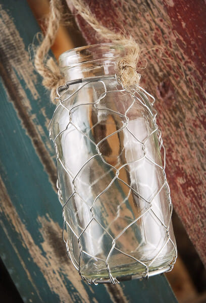 "Hanging 4"" Chicken Wire Glass Bottles"