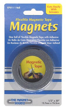 Magnets Flexible Magnetic Tape Rolls  with Adhesive 1/2 in x 30 in (12 rolls)