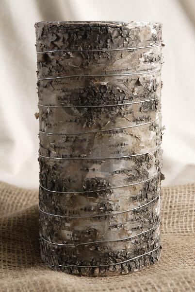 "Woodsy Vase 4.75""x 9"" Birch Bark"
