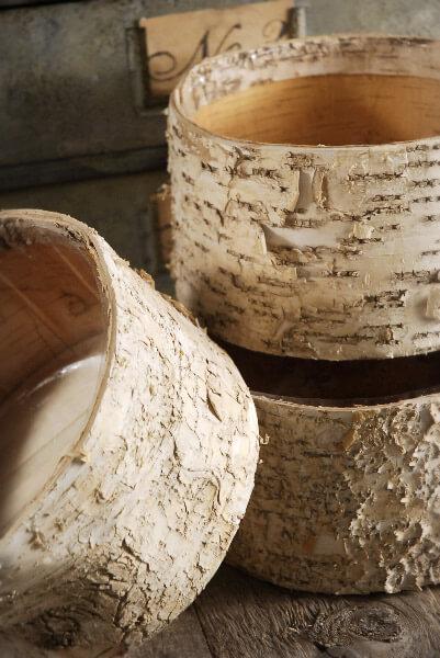 """Birch Bark Pots Round 7.5 x 4"""""""