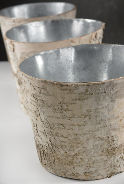 Birch Bark Centerpiece Vase 7in, Zinc Planter