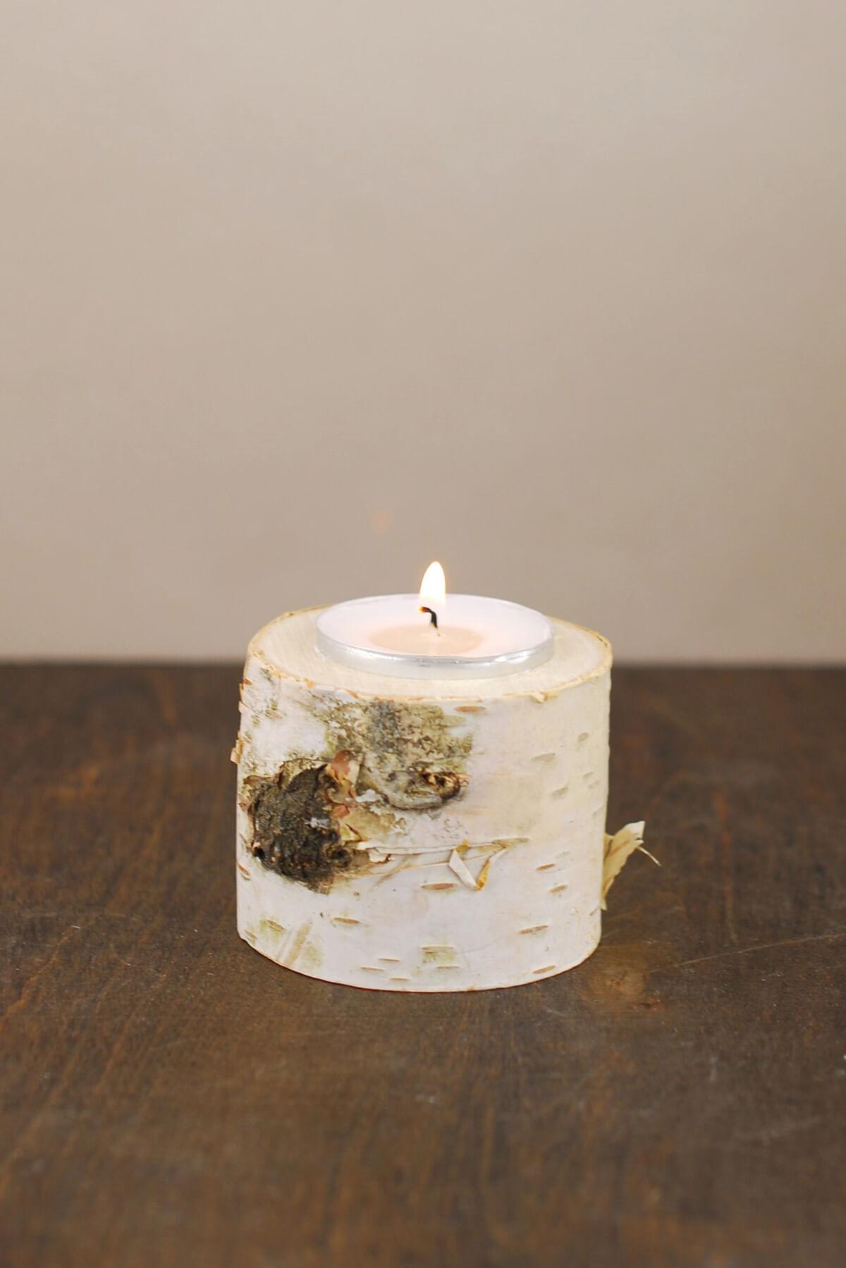 Natural Birch Tea Light Holder