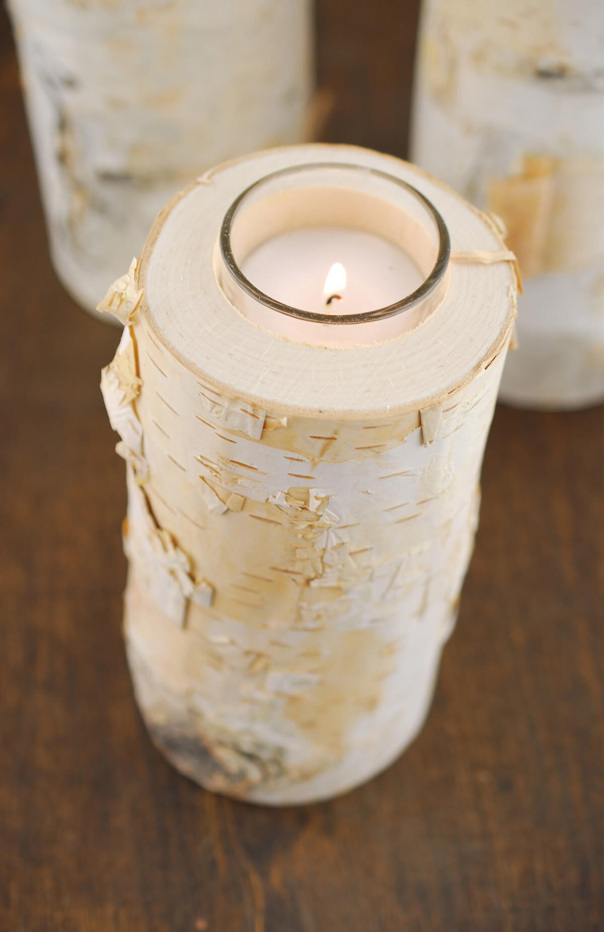 6 Quot Natural Birch Tree Branch Candle Holders With Candle