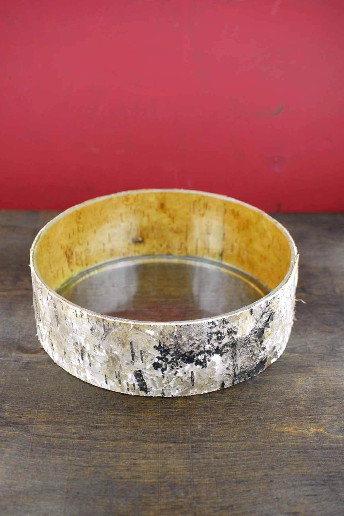 """Birch Bark Wrapped Glass 10"""" Bowl"""