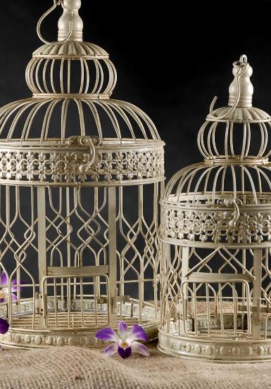 Cream White Round Bird Cages