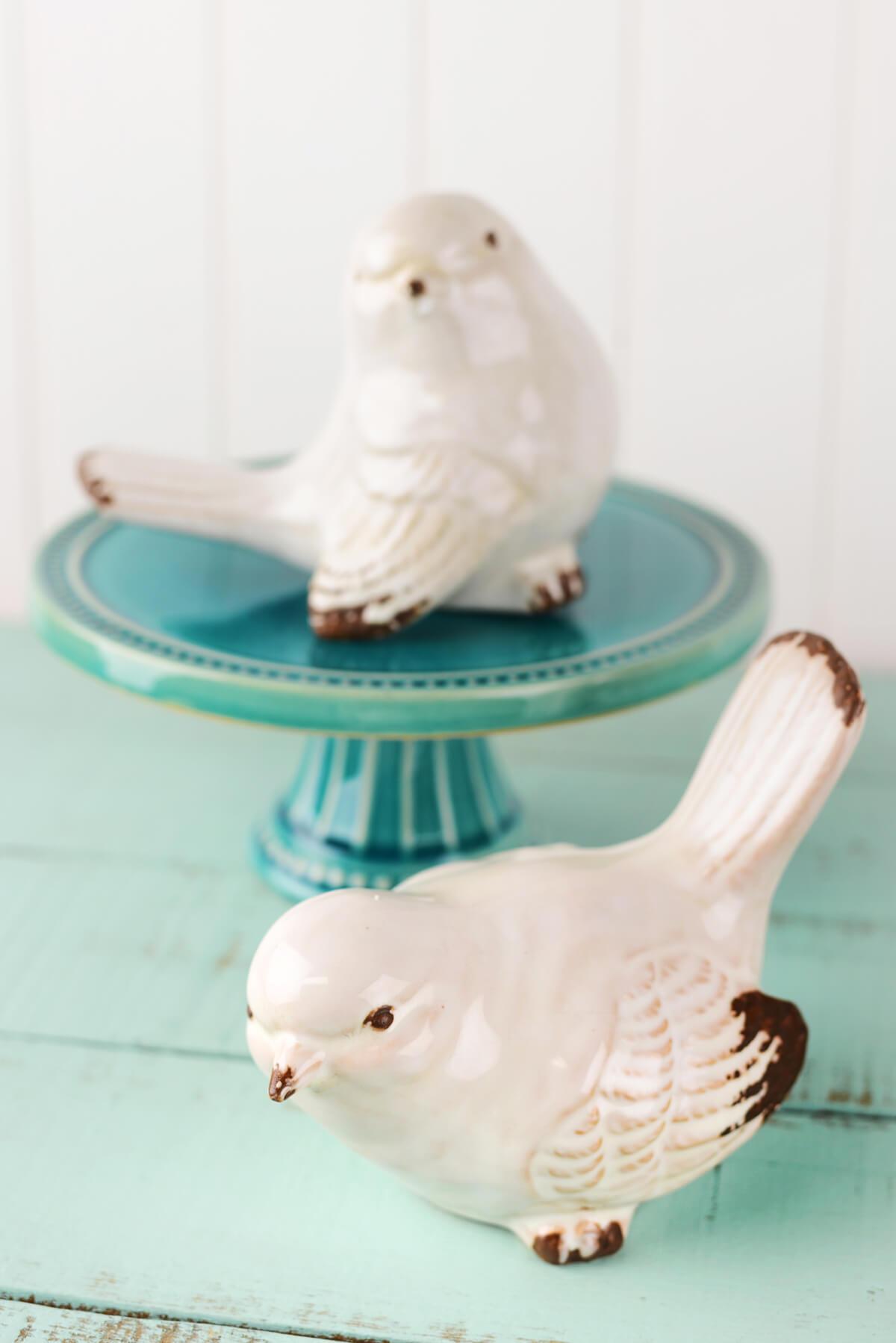 decorative birdcages bird nests more saveoncrafts set of two white ceramic birds