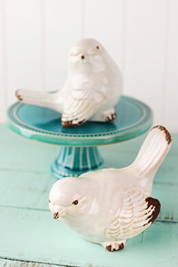 Set of Two White Ceramic Birds