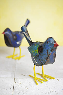 Recycled Metal Bird Figurines Set of Two