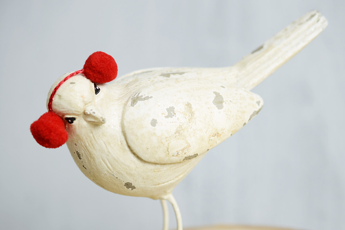 White Christmas Mantel Bird With Ear Muffs