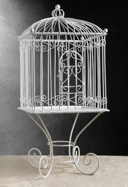 White Metal Vintage Birdcage Removable Stand 21in