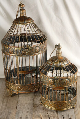 Vintage Brass Round Bird Cages Set of 2