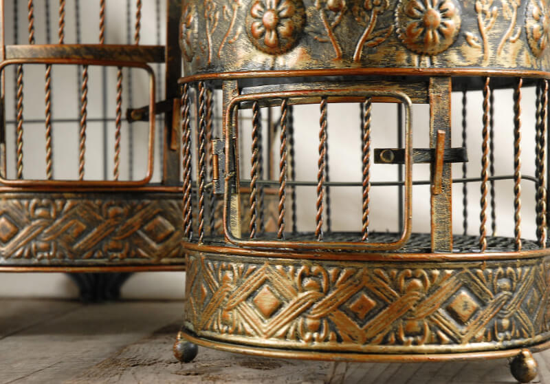 Vintage Brass Round Bird Cages Set of 2
