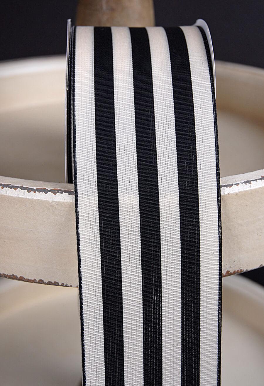 "Black & Ivory Striped Ribbon 2.5"" x 10 yards"