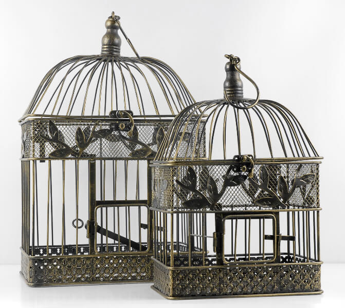 Vintage Birdcages Set of 2 Black Metal