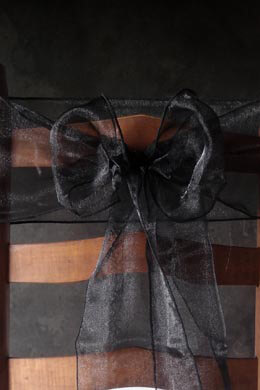 100 Organza Chair Sashes Black