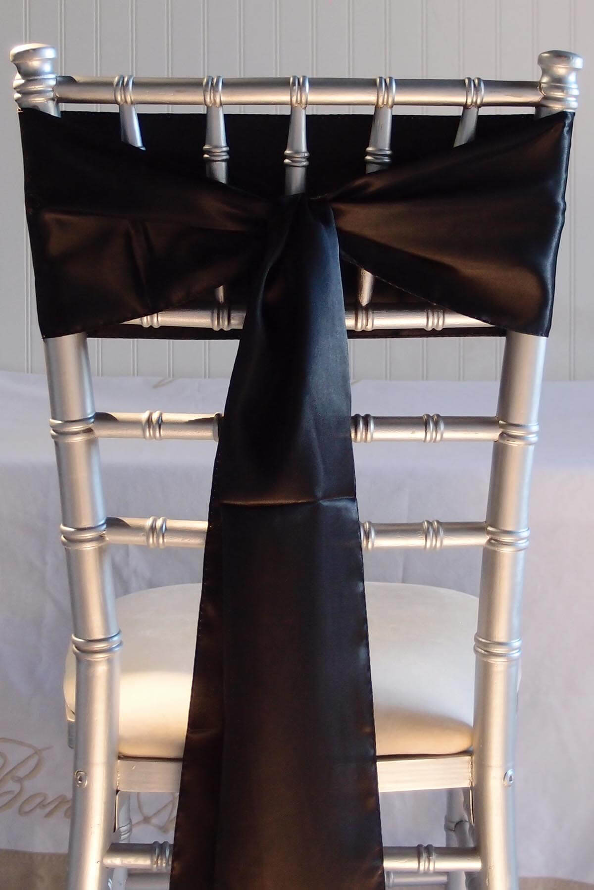 10 Black Satin Chair Sashes 6x108