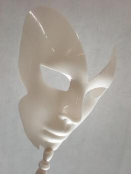 Designer Mask 8-Inch, White on Wooden Dowel
