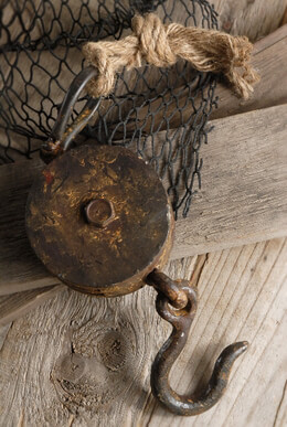 Ships Block & Tackle Pulley 18in, Nautical Decor