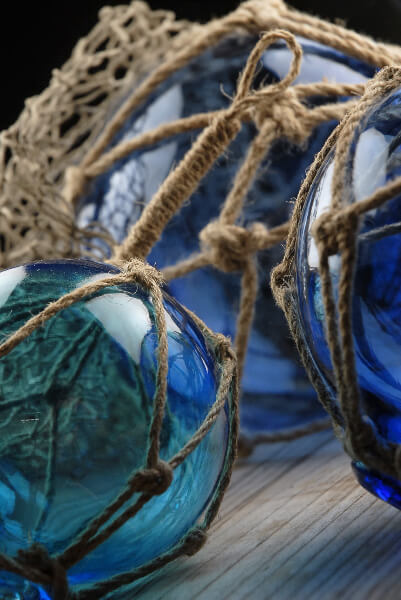 "Set of 3 Nautical Blue Glass Floats with Rope Lanyard , 4"", 5"", 6.5"""