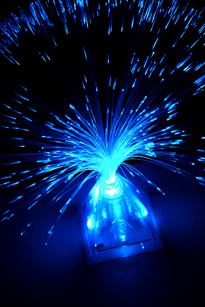Blue Fiber Optic Pyramid Centerpiece   14x16