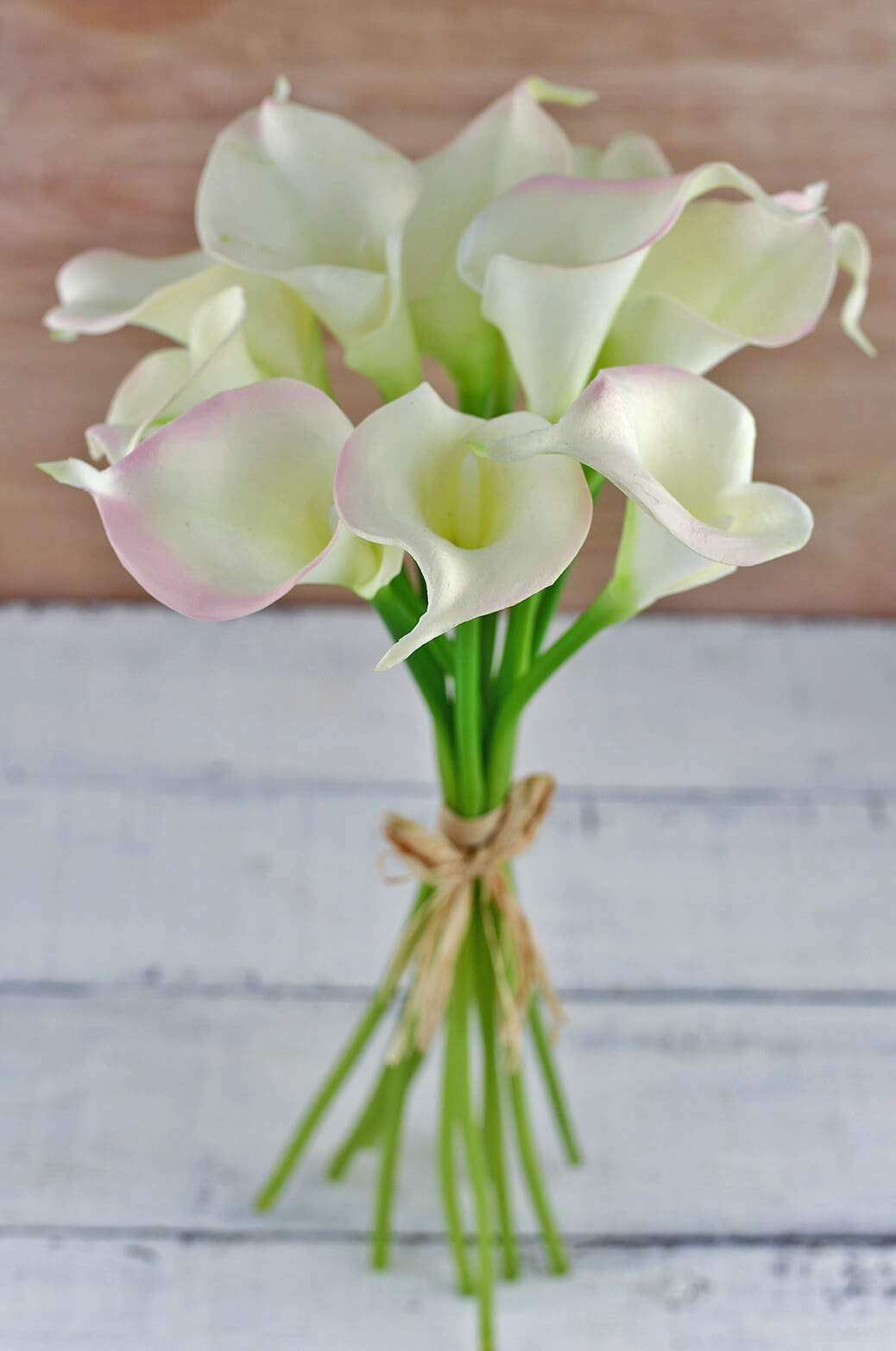 Natural touch hand tied calla blush cream lily wedding bouquet izmirmasajfo
