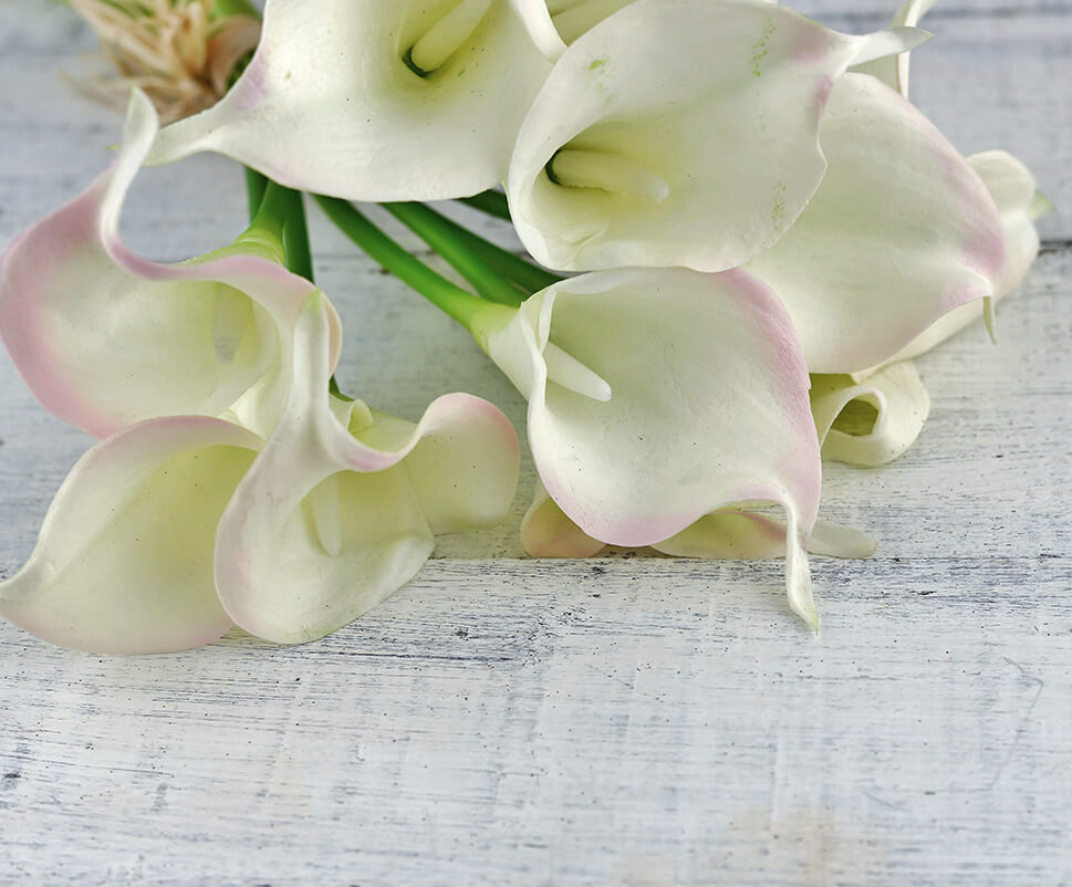 Natural Touch Hand Tied Calla Blush Amp Cream Lily Wedding Bouquet