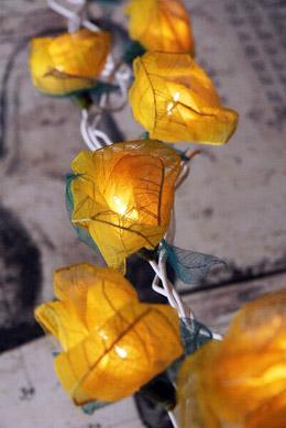 Bodhi Leaf Yellow Rose String Lights 8 Foot