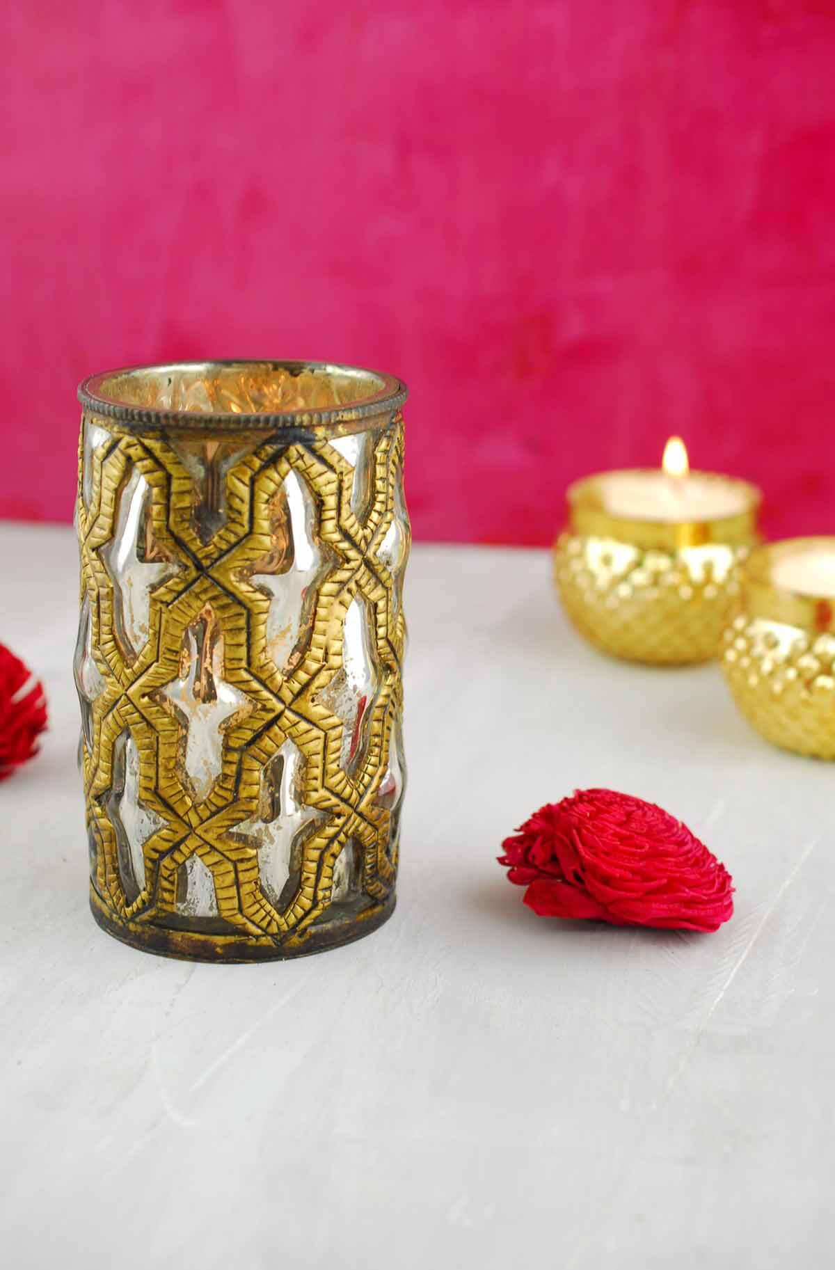 Bohemian Candle Holder 3x5in