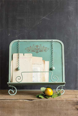 Retro Vintage Turquoise Metal Book Stand