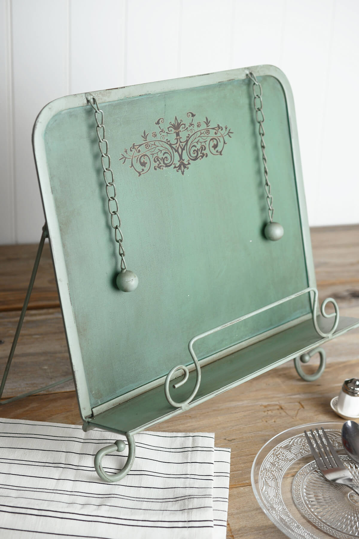 vintage turquoise metal book stand