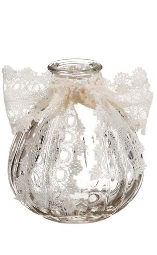Lattice Glass Pear Favor Bottle 3.25in  Ivory Lace Bow