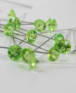 Rhinestone Corsage Pins Apple Green 2in (Pack 100)