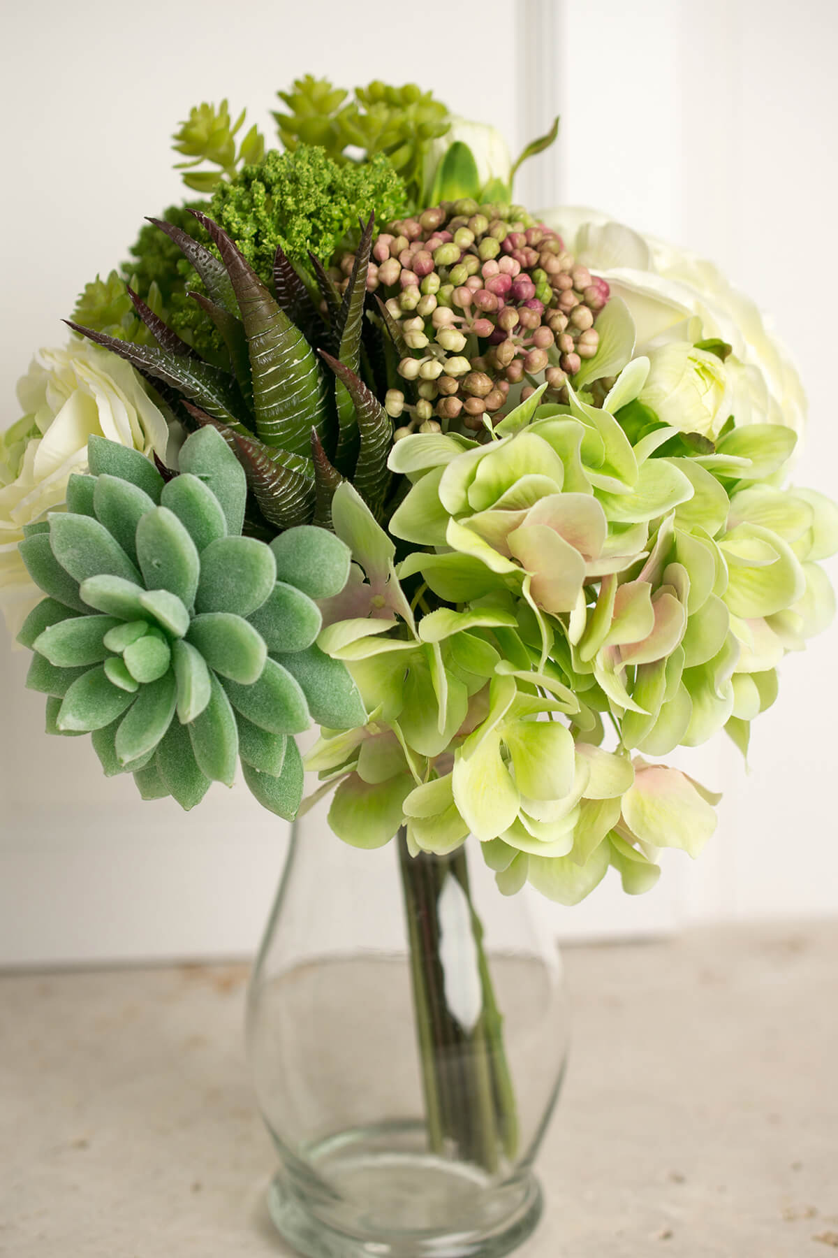 Silk flowers sprays leis bouquets saveoncrafts faux hydrangea rose succulent bouquet in green and white 12 tall dhlflorist Gallery