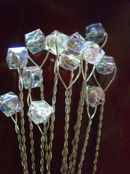12 Bouquet Crystal Cube Jewelry Stems 11in