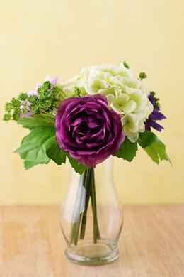 Purple Peony & Hydrangea Flower Bouquets 10in