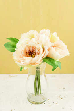 "Peony Silk Bouquet in Peach - 10"" Tall"