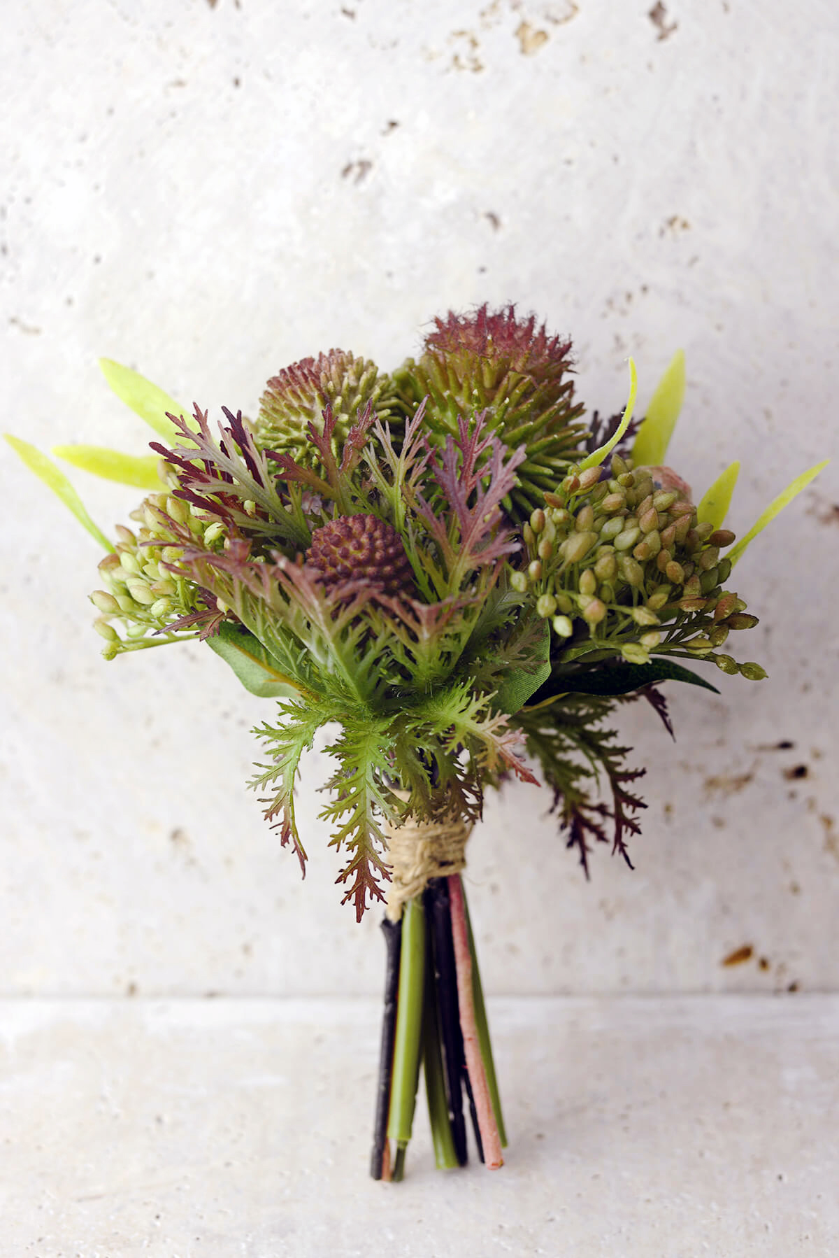 Bouquets artificial protea thistle and sedum bouquet in green burgundy 75 tall izmirmasajfo