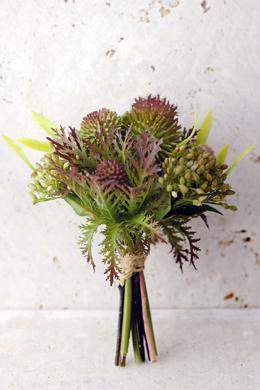 "Artificial Protea, Thistle, and Sedum Bouquet in Green Burgundy - 7.5"" Tall"