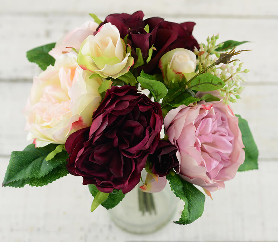 Wedding Bouquet Burgundy : Burgundy pink rose wedding bouquet