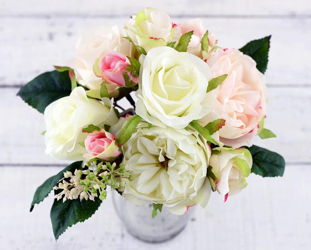 Cream Pink Rose Wedding Bouquet