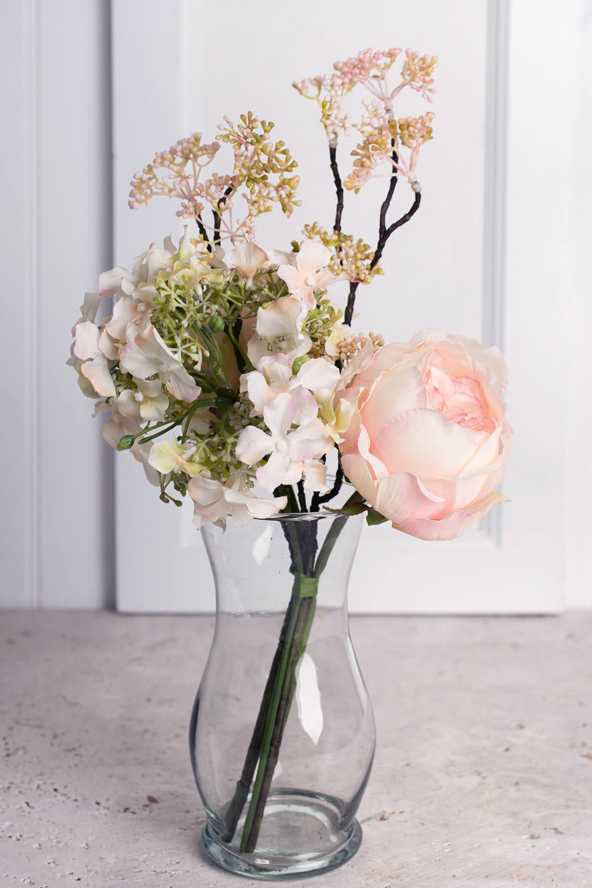 Peach Tea Roses and Hydrangea Bouquet