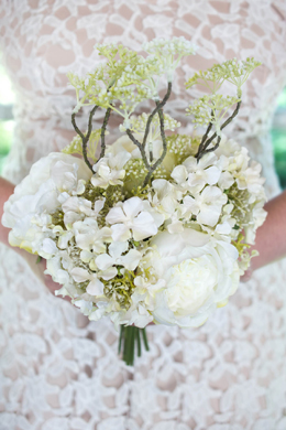 Wedding Bouquet with Roses and Hydrangeas