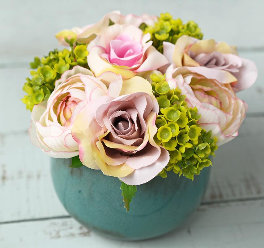 Pink & Green Rose & Hydrangea Flowers in Crackled Vase