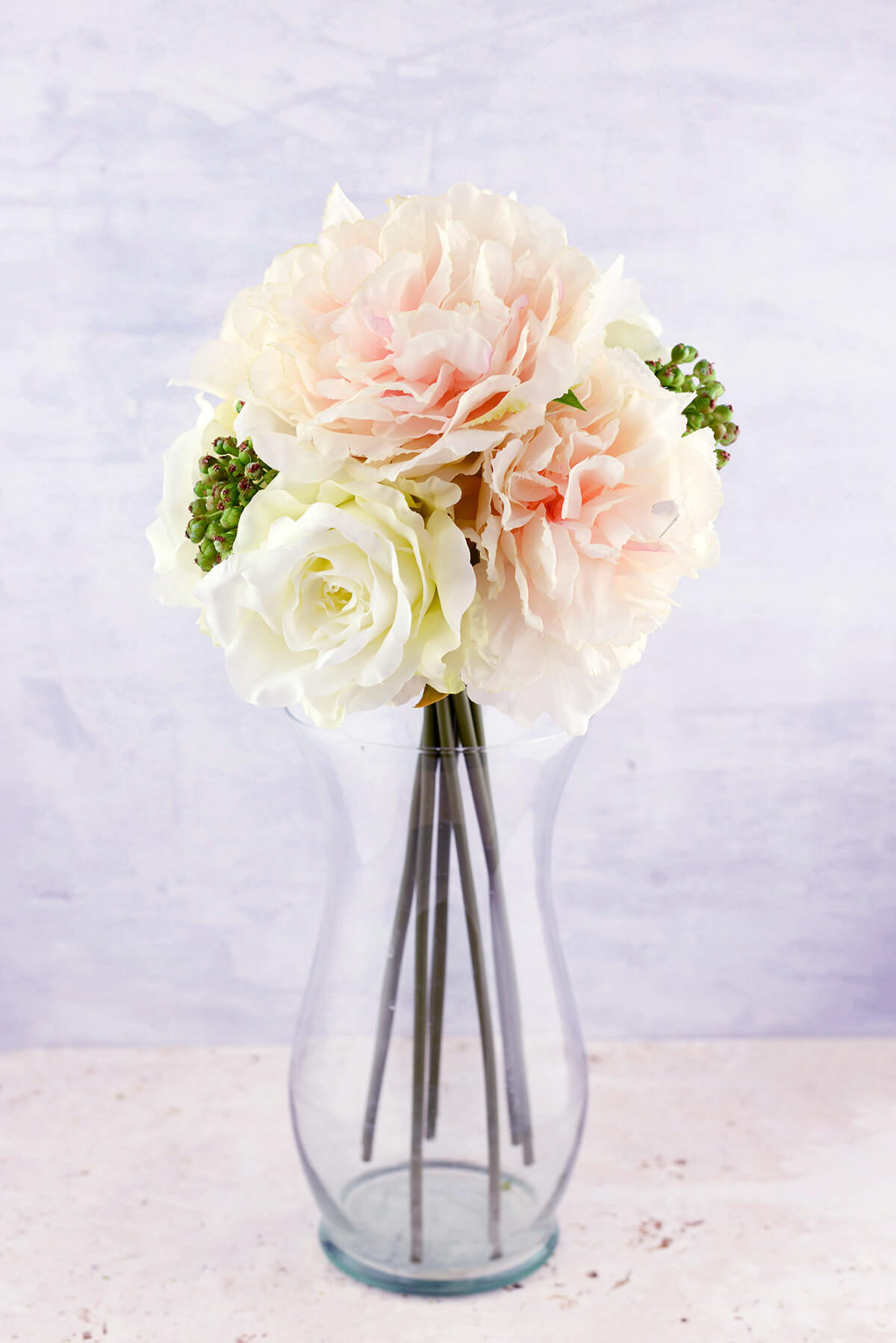 Blush Amp White Peonies Sedum Silk Peony Amp Rose Bouquet